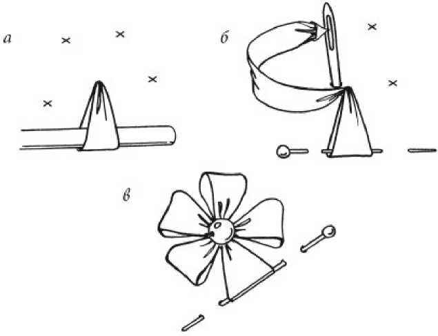 Стежок «Петельки по кругу» лентами