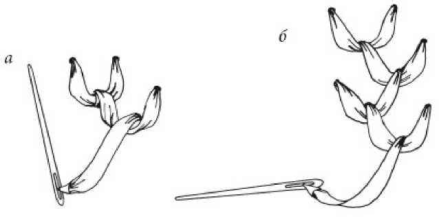 Стежок «Полупетельки с прикрепками зигзагом» лентами