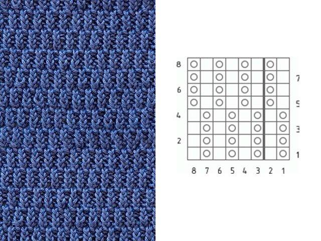 Вязание спицами. Узор мелкой вязки № 4