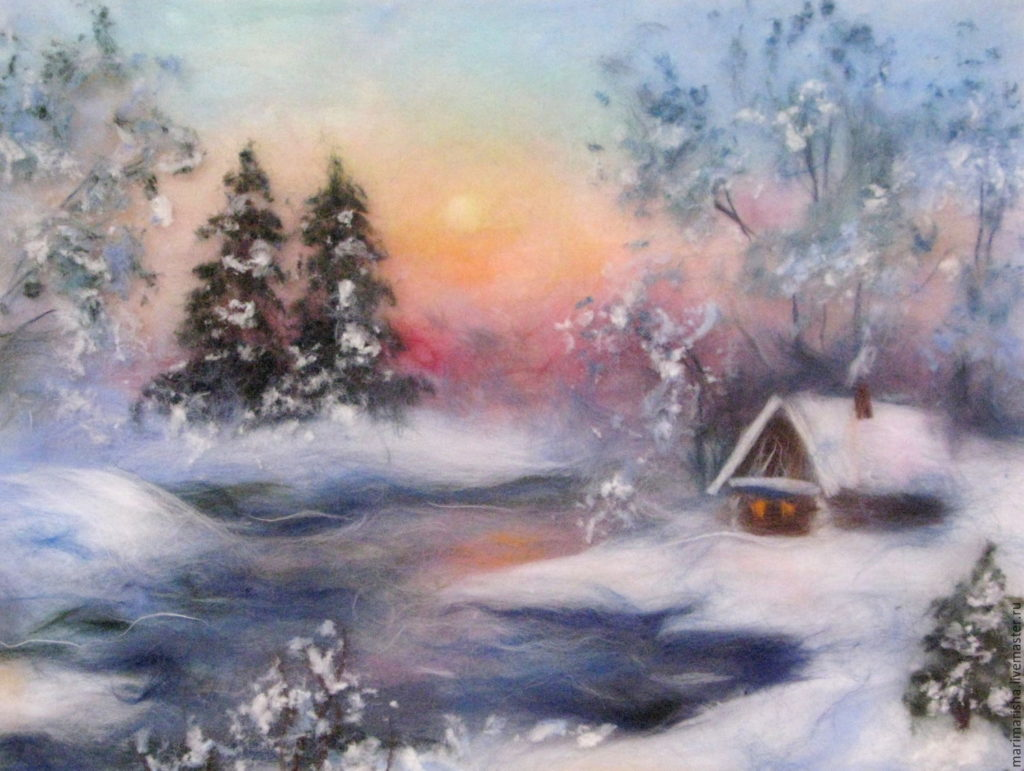 Картины шерстью. Шерстяная живопись. Зима