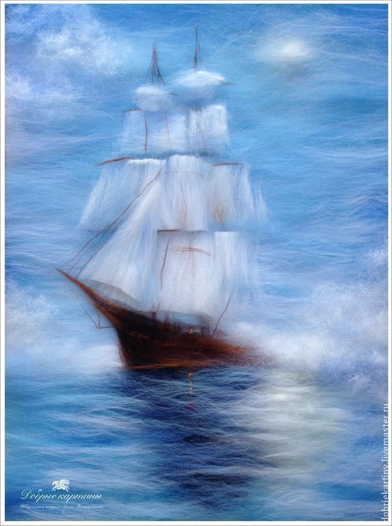 Картины шерстью. Шерстяная живопись. Корабль
