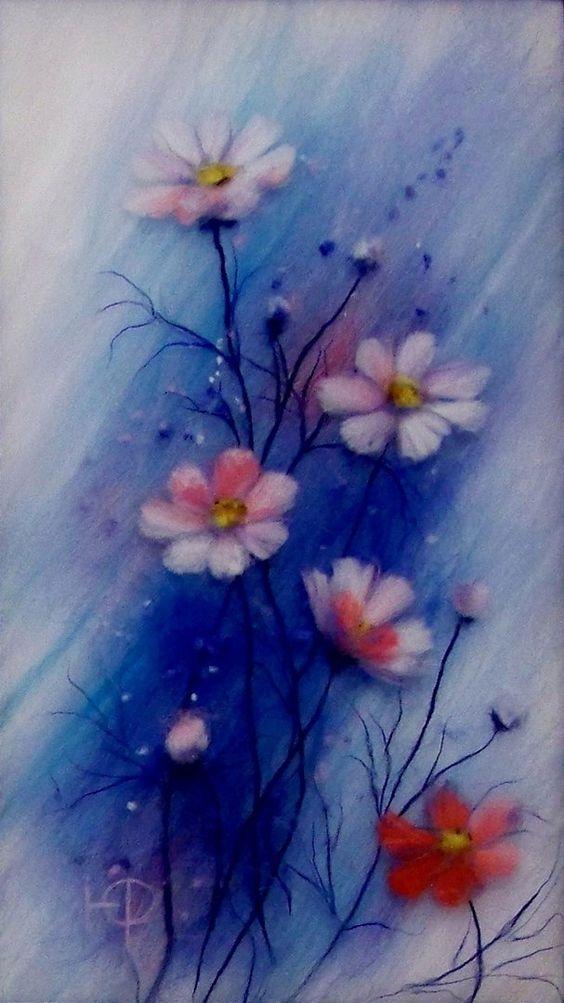 Картины шерстью. Шерстяная живопись. полевые цветы