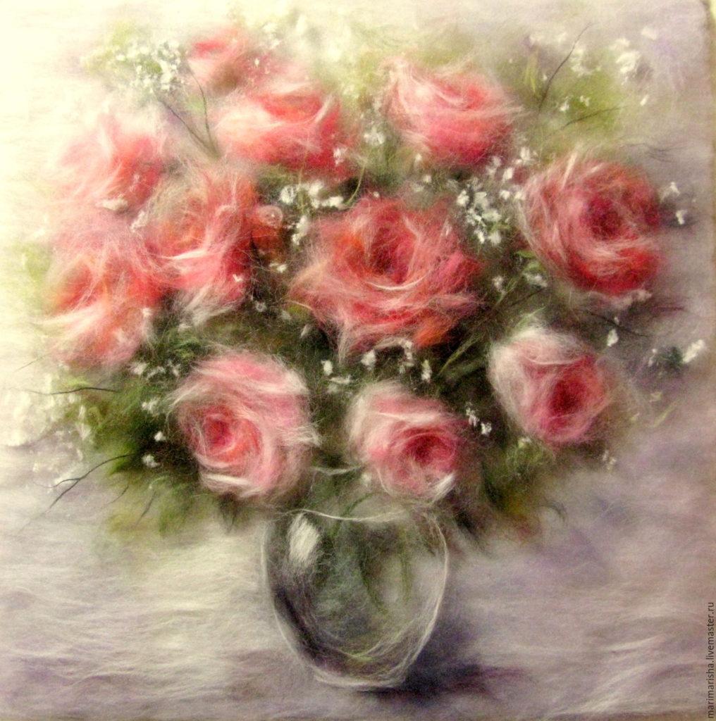 Картины шерстью. Шерстяная живопись. Розы