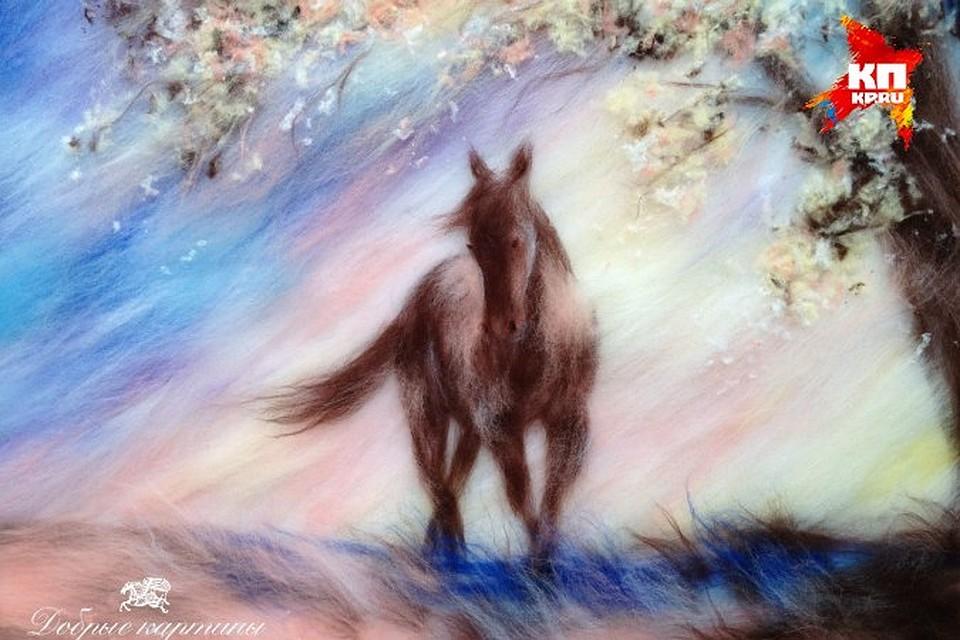 Картины шерстью. Шерстяная живопись. Лошадь