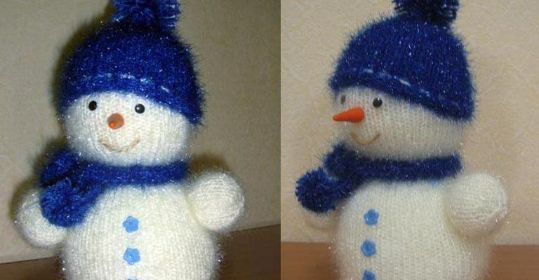 Как связать снеговика спицами