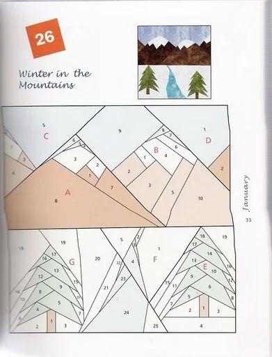 Пэчворк. Схема. Елки и горы