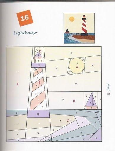 Пэчворк. Схема. Кораблик и маяк