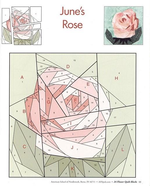 Пэчворк. Схема. Роза