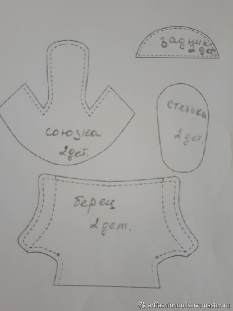 Выкройка обувь для куклы