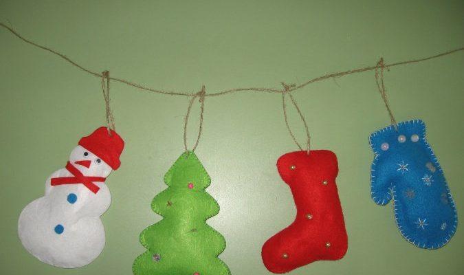Мастер-класс игрушки из фетра Новогодняя гирлянда на окно