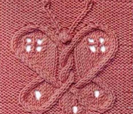 Узор «Бабочка» спицами