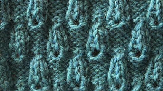 Текстурные капли - узор спицами