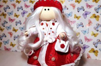 Как сшить интерьерную куклу с большой головой в красном платье