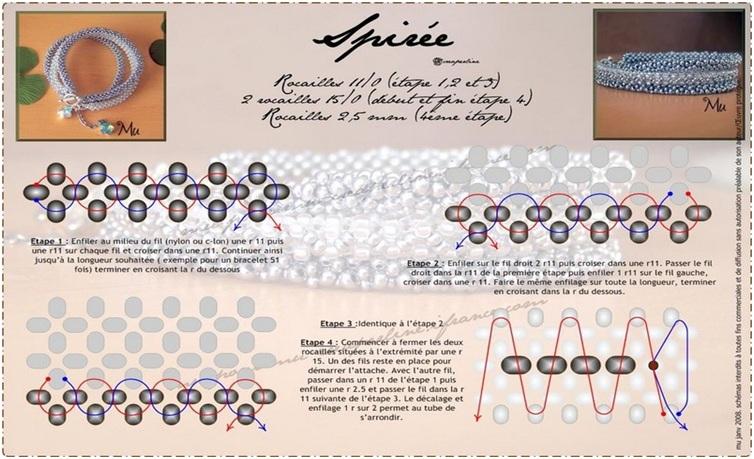 Схема жгута из бисера