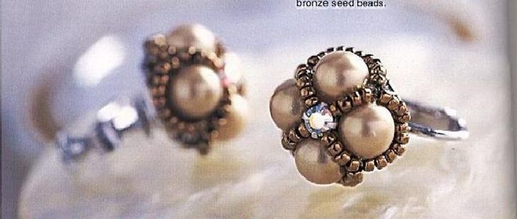 Кольцо и клипсы из бусин